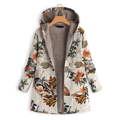 Floral Hooded Vintage Oversized Coats