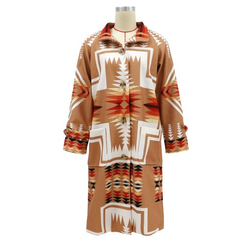 Hippie Gypsy Women Boho Khaki Ethnic Print Long Warm Coat Winter