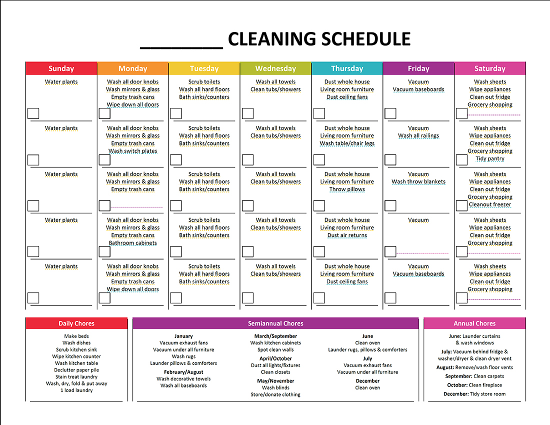 Household Cleaning Worksheet