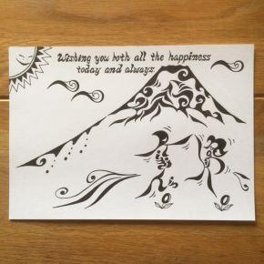 ご結婚のお祝いのプレゼントに!新郎新婦の共通の趣味「山登りから富士山」をイメージした名前も入ったアートな絵の贈り物