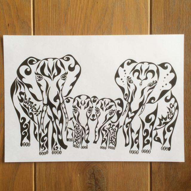 象の絵 家族 家族の絵
