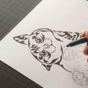猫が好きな方の一軒家ご購入のお祝いに!ペットのゴロゴロした猫ちゃんをモチーフにしたアートな絵のインテリア