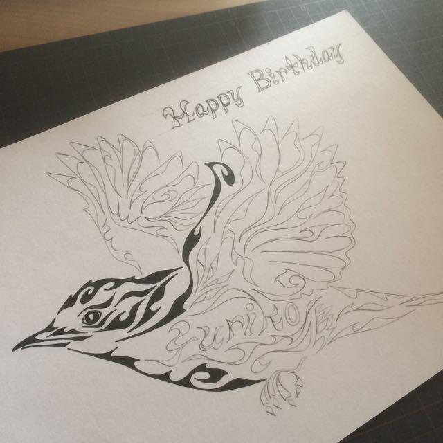オオルリ 小鳥 モチーフ 誕生日