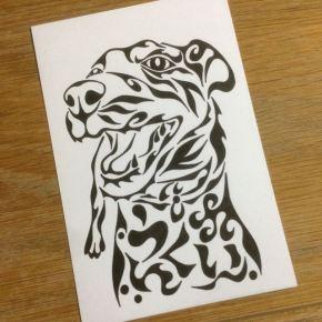 ペットの犬の写真をモチーフに!ちょっと変わった模様で書く味のあるペットの似顔絵風アート