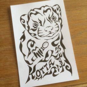 ペットのフェレットをモチーフにアーティストである歌手のご友人をイメージした絵の贈り物