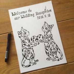 猫の夫婦がお客様を出迎える!結婚式での模様で書く猫の絵のウェルカムボード