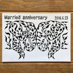 お友達夫婦にプレゼントしたい!昨年籍を入れた記念に2匹の象の絵の贈り物