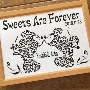 結婚のお祝いやウェルカムボードとしても!ミッキー&ミニー風の名前が入った夫婦のアート