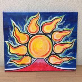 【太陽と赤富士】アクリル絵画 F3号の小さな絵