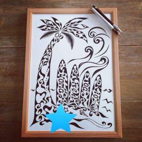定番デザイン【ヤシの木とサーフボード】サーフィン好きな方への新築祝いなどのプレゼントに