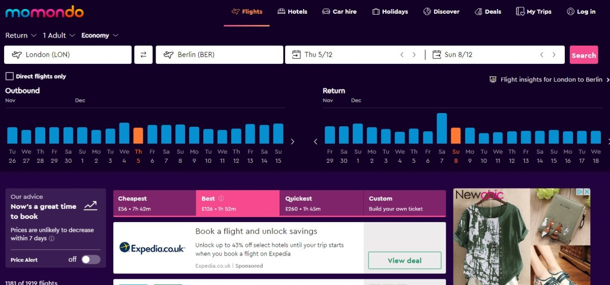 We love Momondo's cheap flight comparison interface
