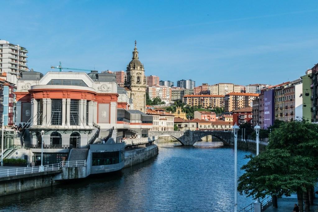 La Rivera Market and the Nervion River in Bilbao