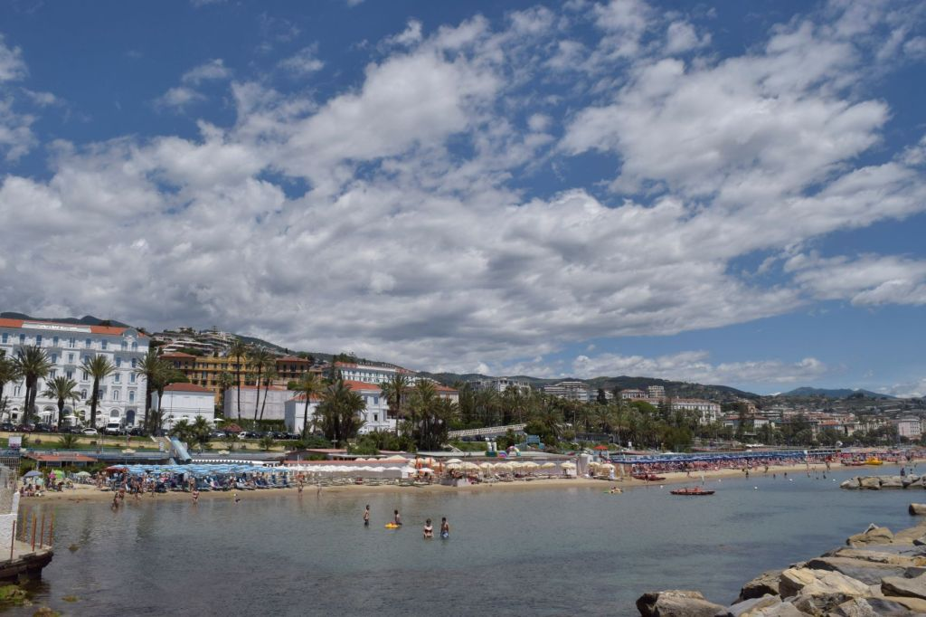 The very busy seafront in San Remo