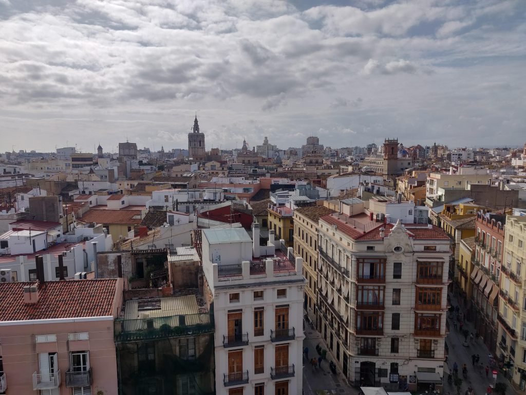 The view from the top of the Torres de Serranos in Valencia