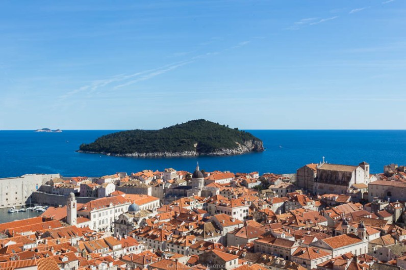Sea of Rooftops and Lokrum island seen from the Dubrovnik city walls // Photos and stories from a week in Croatia // Memories from the Balkans // Dubrovnik, Split, and Zagreb