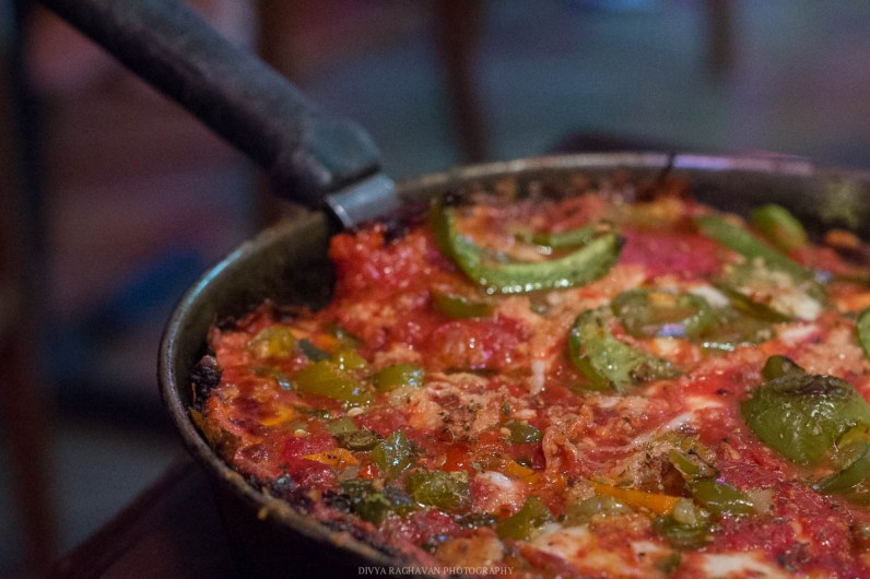 Deep dish pizza at Pequod's pizza, Chicago, USA-5