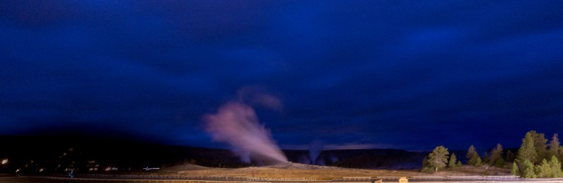 Old Faithful geyser, which was not faithful and erupted before I ran out to see it