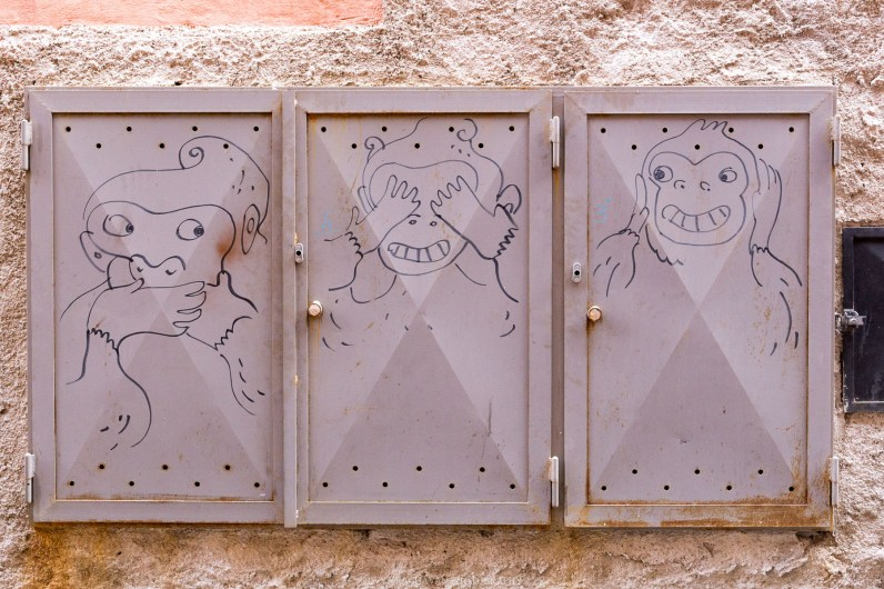 Funny drawing on the streets on the old town // A day trip to the medieval town of Ventimiglia, Italy from Nice, France // gonewithawhim.com