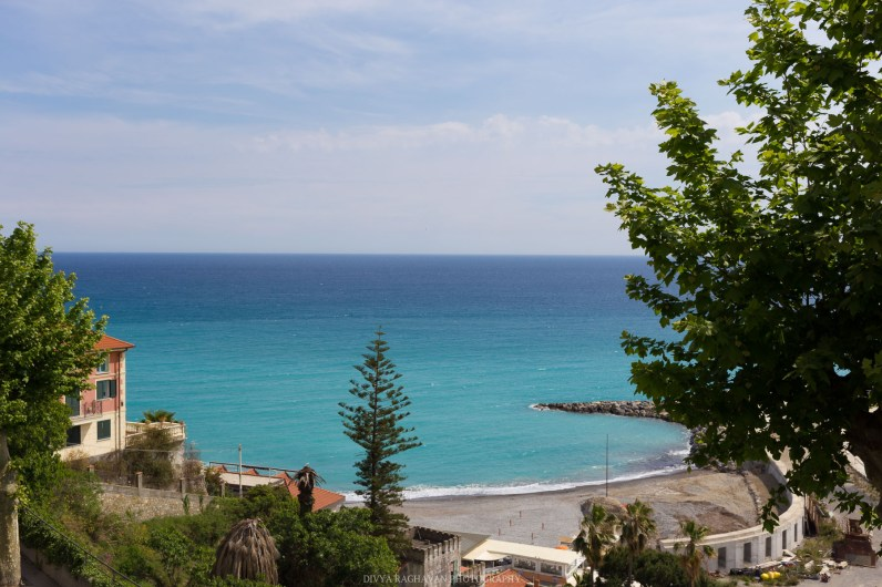 Views of the turquoise blue Liguarian sea from the old town // A day trip to the medieval town of Ventimiglia, Italy from Nice, France // gonewithawhim.com
