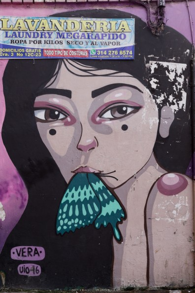 Street art of woman eating butteryfly, Painted by Vera, Colombia, South America // Photos to inspire you to visit Colombia