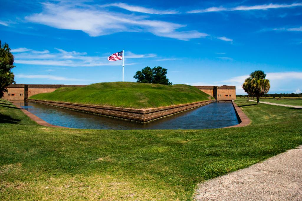 best things to do in savannah, fort pulaski national monument, brick fort surrounded by moat