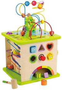 Non-Toxic Holiday Gift Ideas - Hape Country Critters Wooden Activity Cube
