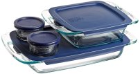 Non Toxic Bakeware - Pyrex Easy Grab 8 Piece Glass Bakeware and Food Storage Set