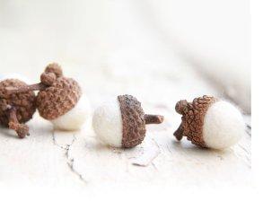 Non Toxic Christmas Decorations - Handmade Snow White Marino Wool Felted Acorns