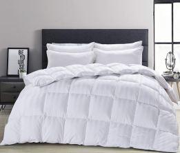 Organic Comforter - HOMBYS White Stripe Down Comforter