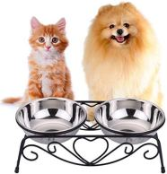 Non Toxic Dog Gifts - CICO Pet Feeder for Dog Cat, Stainless Steel Food and Water Bowls with Iron Stand