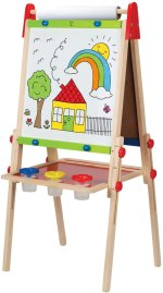 Non Toxic Gifts For Preschoolers - Award Winning Hape All-in-One Wooden Kid's Art Easel with Paper Roll and Accessories