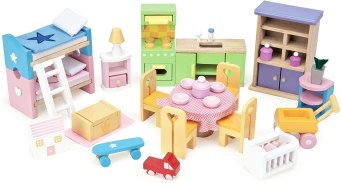 Non Toxic Gifts For Preschoolers Le Toy Van - Wooden Dolls House Full Starter Furniture & Accessories Play Set for Dolls Houses