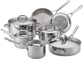 Stainless Steel Cookware - Anolon 30822 Triply Clad Stainless Steel Cookware Pots and Pans Set