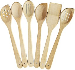 Non Toxic Cooking Utensils - ECOSall Store Healthy Cooking Utensils Set - 6 Wooden Spoons For Cooking