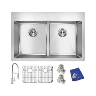 Stainless Steel Kitchen Sink - Elkay Crosstown Stainless Steel 33 in. Equal Double Bowl Dual Mount Kitchen Sink Kit