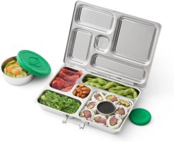 Non Toxic Kids Lunch Bags - PlanetBox ROVER Eco-Friendly Stainless Steel Bento Lunch Box with 5 Compartments for Adults and Kids