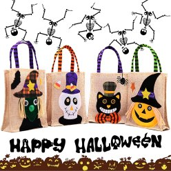 Non Toxic Halloween Trick Or Treat Bag For Kids - DatingDay 4Pack Multicolor Bulk Halloween Tote Bag