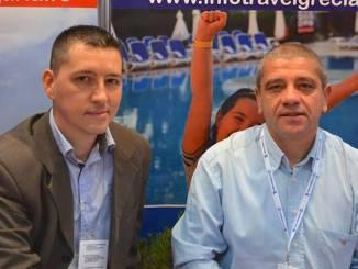 Petre Dordea (stânga) și George Vasiliu, la Forumul Național al Ghizilor de Turism. FOTO InfoTravelRomania
