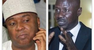Dr Bukola Saraki Senate President and Mr Ibrahim Magu EActing ChairFCC man...Court has ruled