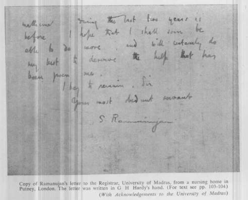 Copy of Ramanujan's letter to the Register, University of Madras (The letter was written in G. H. Hardy's hand) -3