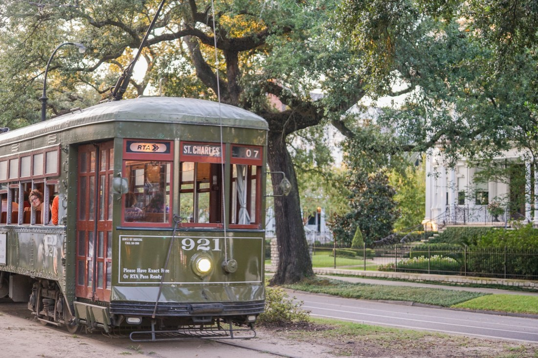 The St. Charles Avenue streetcar is as affordable as it is romantic. (Photo: Paul Broussard)