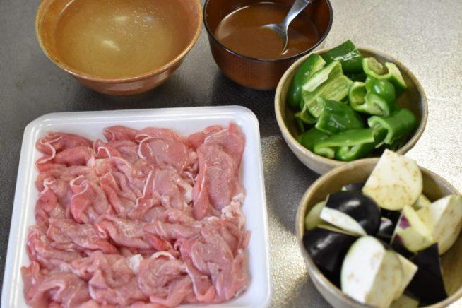 ナスとピーマンと豚肉