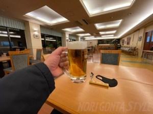 ガーデンホテル焼岳で生ビール