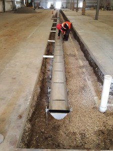 Last section of trench drain ready for backfill