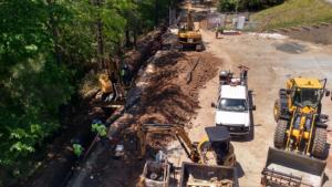 Fire line installation underway