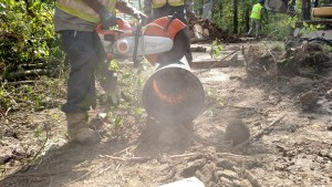 Ductile iron pipe cut with quickie saw
