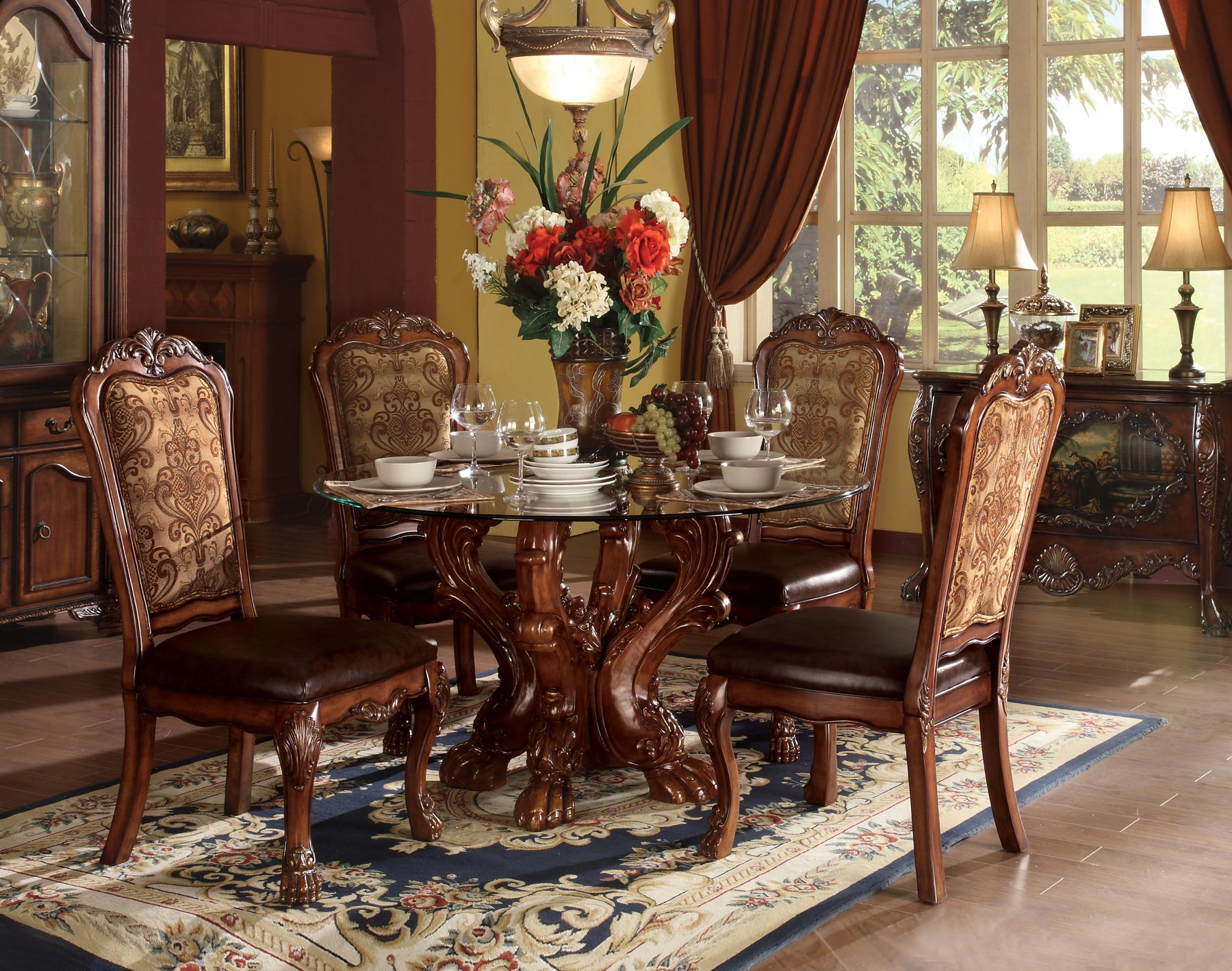 Dresden Round 5 Piece Dining Room Set Gonzalez Furniture