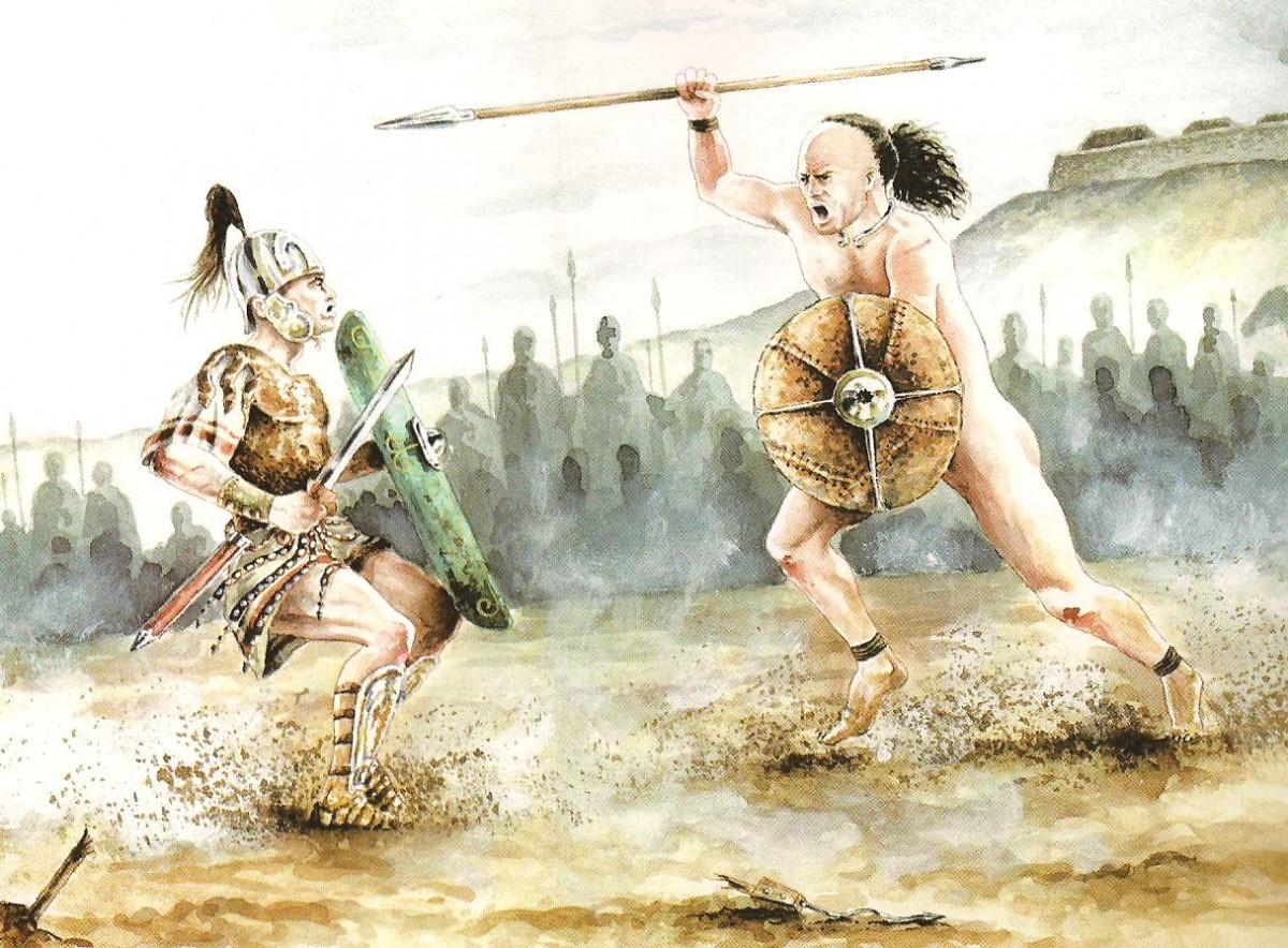 Recreación del duelo de Intercatia entre Escipión y un guerrero bárbaro vacceo en el 151 a.C. (según Sanz Mínguez y Velasco Vázquez 2003).