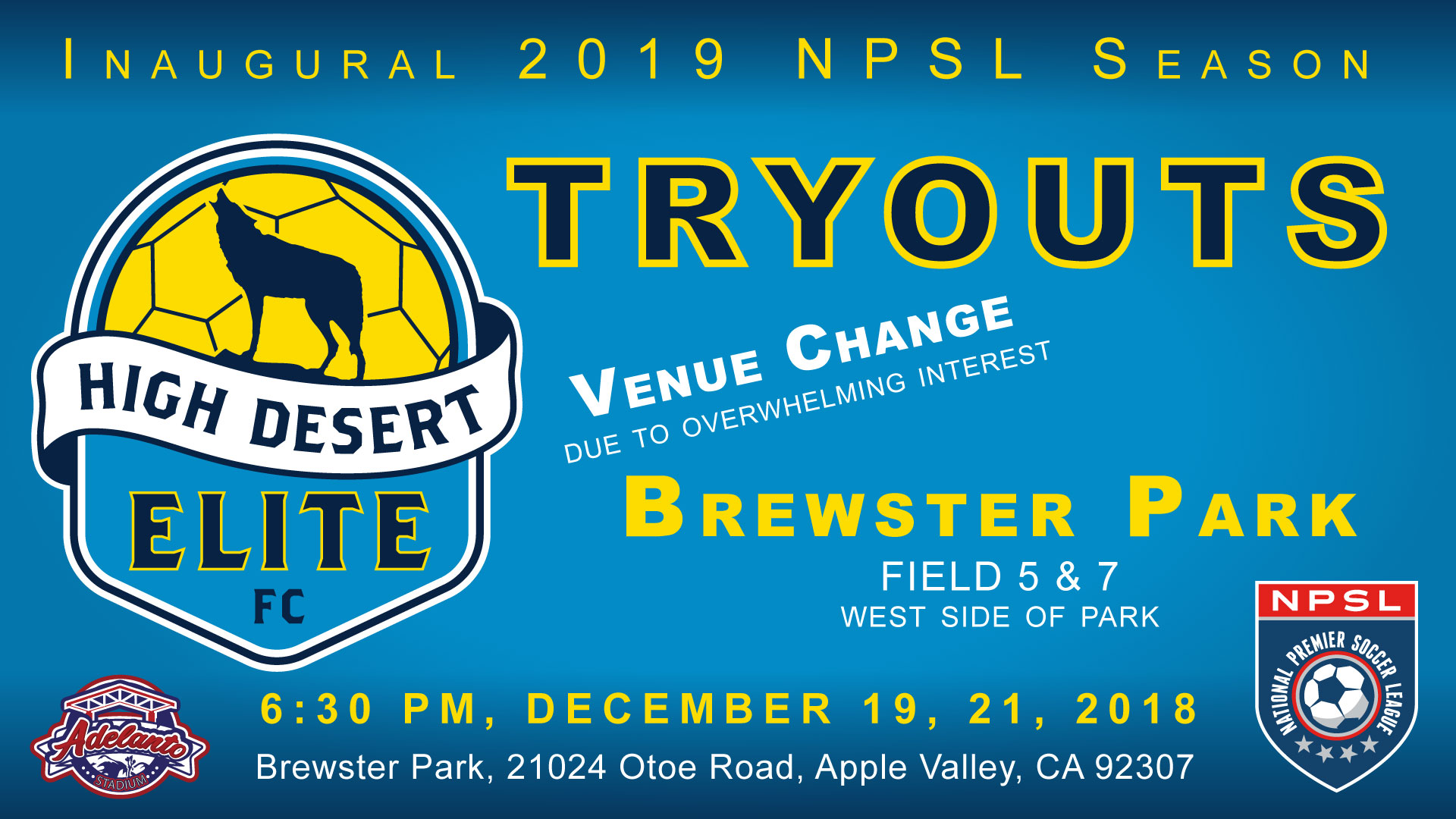 2019 NPSL Tryout Venue Changed Due To Overwhelming Player Response