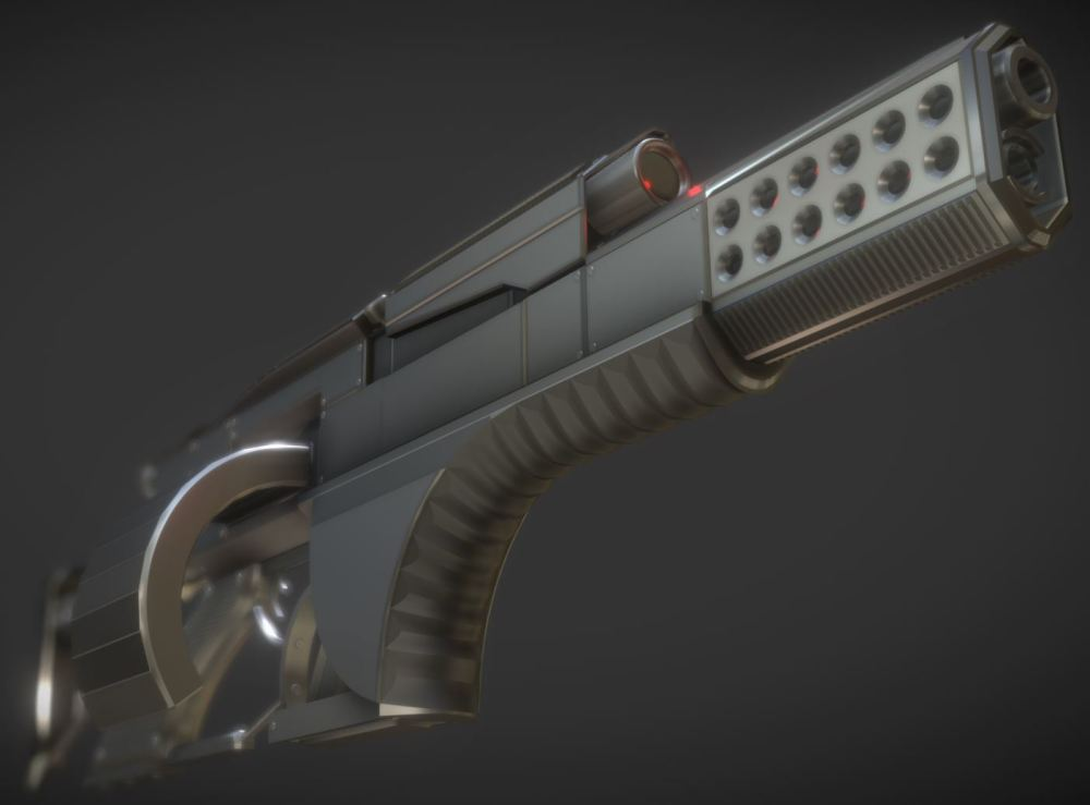 Futuristic Weapon Concept High-Poly